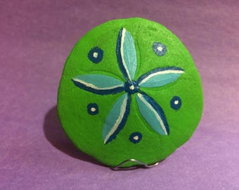 Green and Blue Flower Sand Dollar