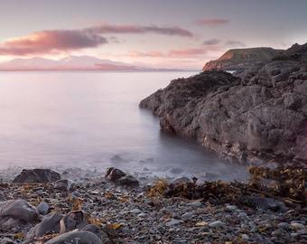 Calm beach sunset photography print