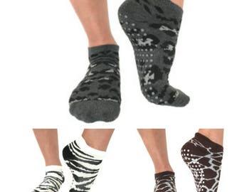 Barre Pilates Yoga Socks /Animal Print 3 pair pack/ Donates to Animal Rescue