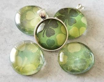 Shades Of Green Shamrock/Clover Decorated Pendants, Magnets, Cabochon Necklace