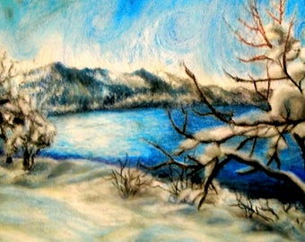 Lake Tahoe - Print of Original Oil Pastel Drawing