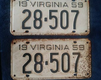 1959 Vintage License Plates- Matched Pair