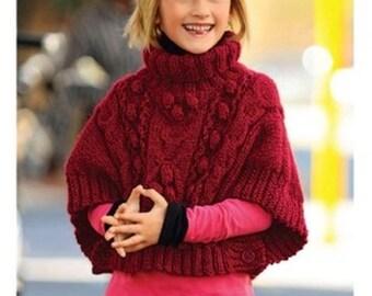 Girls Chunky Poncho vintage knitting pattern -Immediate download