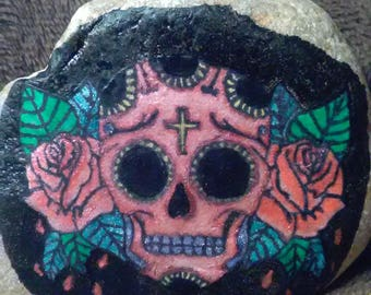 Hand painted rock: sugar skull