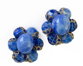 Blue Bead Cluster Earrings