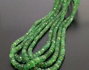 CLOSEOUT SALE ! Full Hank of 3-6mm Emerald Faceted Rondelle Natural Gemstone Beads - Total 4 Strands of 16 Inches (SKU#18185)