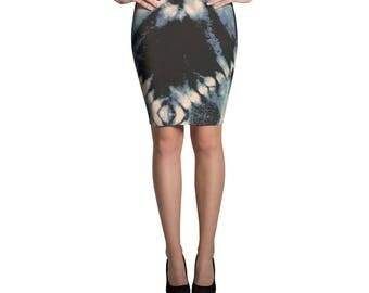Blue Lightning Pencil Skirt