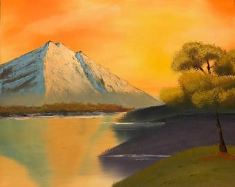 Original Painting Fiery Sky Sunrise Sunset Nature Oil Textured Wet-on-Wet Alla Prima