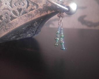 Handmade green and crystal drop earrings