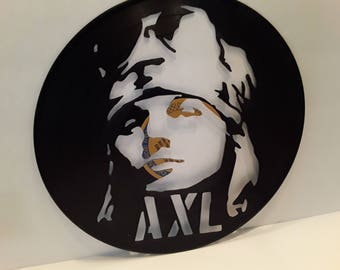 Axl Rose on a hand cut vinyl record.