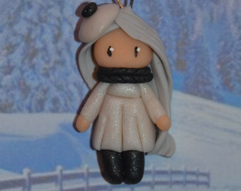 Baby dress white polymer clay glitter gray - winter Collection - handmade jewelry