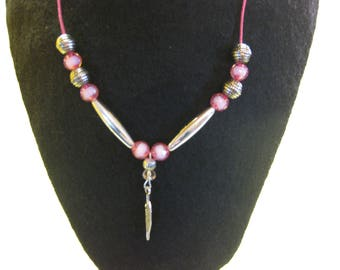 Pink Leaf Bead Necklace on a Pink Cord