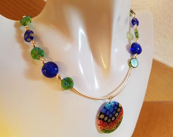 Necklace with Mille Fiori glass beads