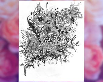 Hand Drawn Zentangle Coloring Page