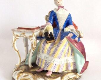 "Antique Rare Meissen Figurine Figure Lacework c1880 by J J Kaendler AF 15cm 6"""