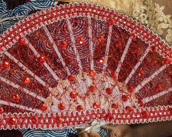 Red Stone Traditional Wedding Fan