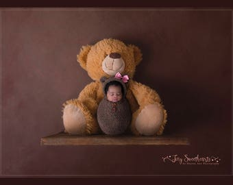 Newborn Teddy Bear Swaddle Wrap with Bonnet, Photo Prop Photography, Newborn Bear, Newborn Bear Prop