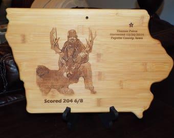 Iowa Shaped Cutting Board Custom Laser Engraved