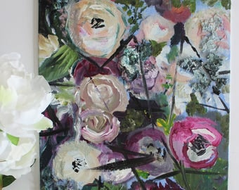 """abstract acrylic floral on panel/ """"finding my niche"""""""