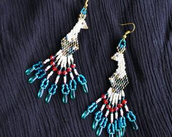 Paradise Bird beaded earrings