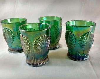 Vintage Beaded Shell Carnival Glass Tumbler- Set of 4- Green Iridescent- Rare