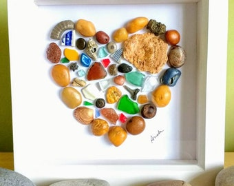 Pebble art, pebble heart picture, wall art, fossils, sea glass, pebbles, heart, gift