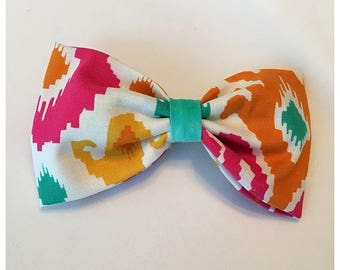 Aztec Pattern Hairbow, Hairbow, Vibrant Aztec Hairbow, Multi-color Aztec Hairbow, Bows, Bowtie, SozBows