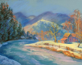 Pastel drawing, Winter Mountains, River Landscape, Mountain village, Original drawing, Mountain Peaks, Pastel art by Anna Trachuk