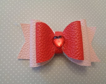Hair Bow Pink and Red Leatherette. Hair Clip. Hair Accessory. Girl's Hair Accessory. Child's Hair Bow. Girl's Gift.