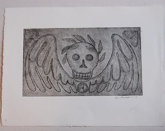 Puritan Skull Gravestone Etching