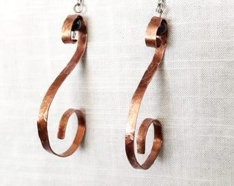 Hammered Copper Swirl Earrings