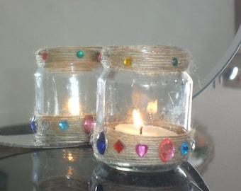 Decorated tea light jar