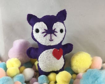 Purple Cat with Red Heart Detail