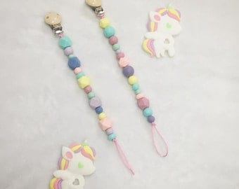 Rainbows and Unicorns Pacifier Clip