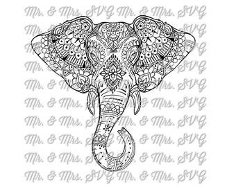 Mandala style Elephant (PNG)