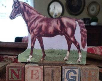 Horse and vintage children's blocks
