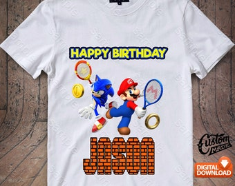 Sonic and Mario Iron On Transfer, Sonic and Mario Birthday Shirt DIY, Sonic and Mario Shirt Design, Sonic and Mario Printable, Digital Files
