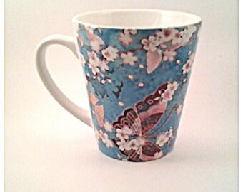 LA001 - 12 oz Ceramic Latte Mug - Blue Butterflies Kimono
