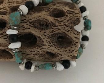 Turquoise stretch boho bracelet
