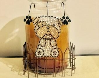 Adorable dog candle cane decoration