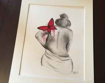 Original figure painting in watercolours 'Touched by your soul' red butterfly