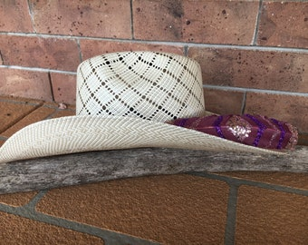 Burgundy hat feather