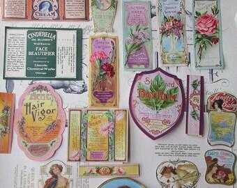 20 Assorted Vintage Cosmetics Labels Vintage Paper Labels Victorian 1910 Art Nouveau