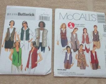 Vest Sewing Patterns Misses', sizes 6 to 14 - UNCUT