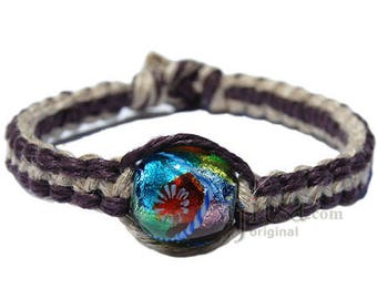 Wide dark burgundy and natural flat hemp bracelet or anklet with multicolored glass bead