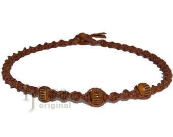 Light brown twisted hemp brown bone beads choker necklace