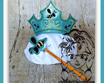 QuEEN BEE CRoWN E & Bee WaND ~ In The Hoop Headband ~ Downloadable DiGiTaL Machine Embroidery Design by Carrie