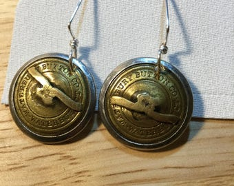 Recycled button earrings