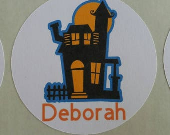 Personalized Halloween Haunted House Stickers for Back to School, Name labels, cards, etc set of 20