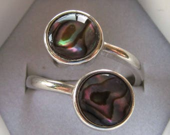 Sterling Silver Bypass Ring with Twin 8mm Natural Paua Shell Cabochons